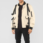 Latest men new fashion street style windproof buckle straps bomber jackets
