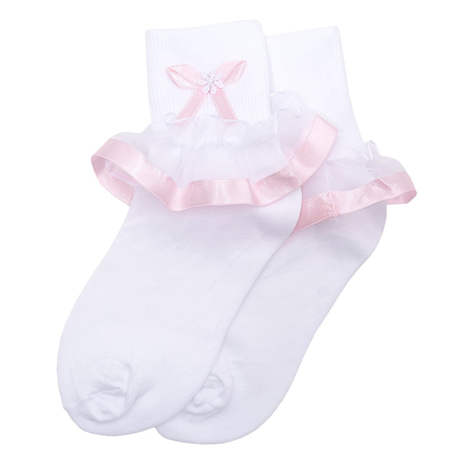 ee27b8bd5b0e66 Get Quotations · Piccolo Little Girls White Pink Bow Broach Lace Trim  Anklet Socks 5-8.5