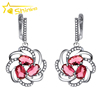 new product Turkish silver jewelry ruby zirconia micro pave flower hoop earrings