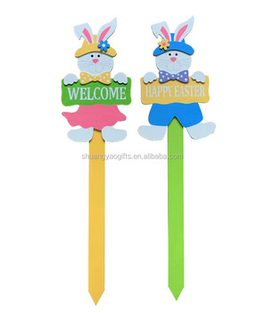 Easter Wooden Rabbit Yard Stake Easter Garden Words Signs Stake