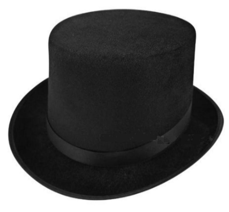 New Adult Deluxe Black Top Hat Topper Victorian Ringmaster Lincoln Fancy Dress