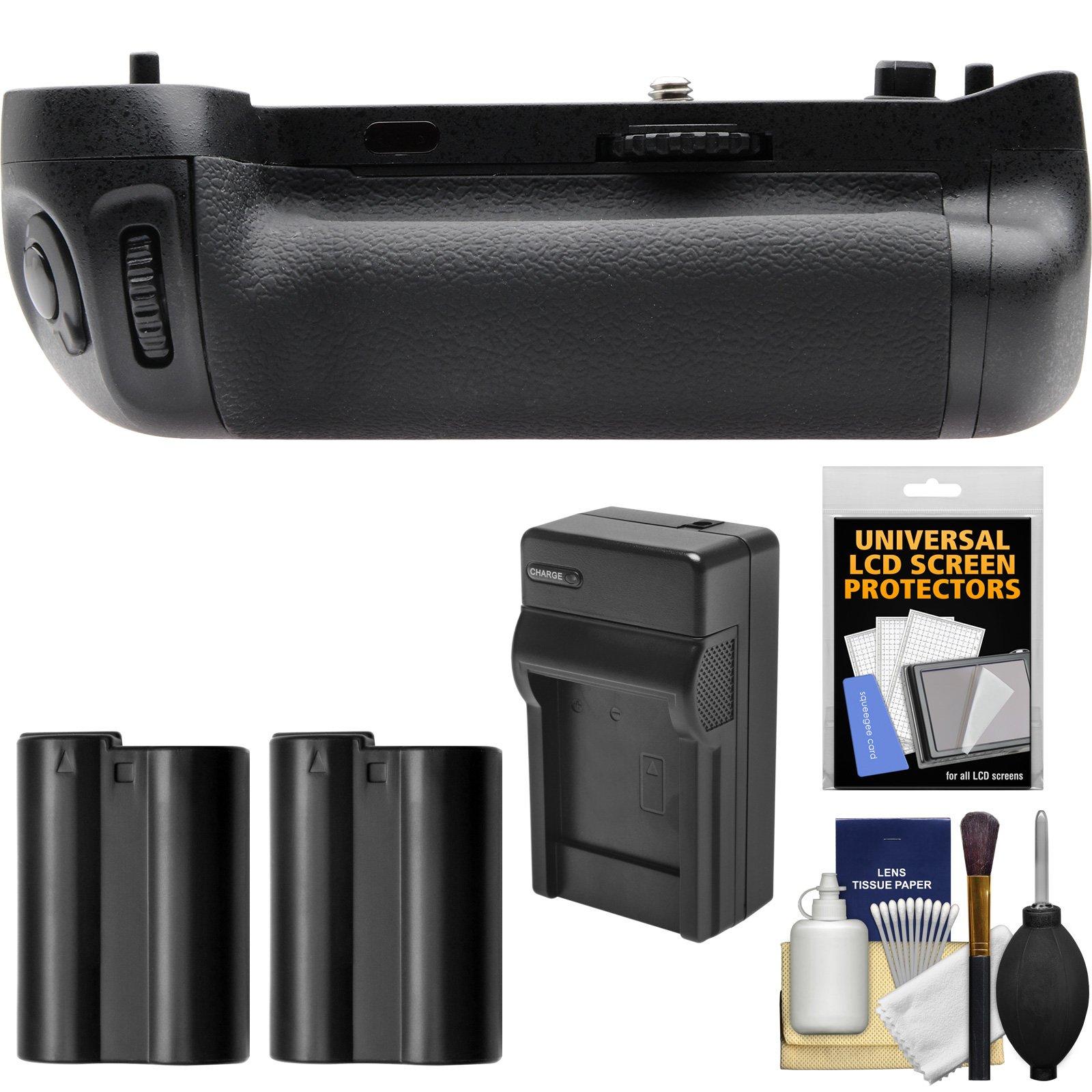 Vivitar MB-D16 Pro Series Multi-Power Battery Grip with 2 Batteries & Charger + Kit for Nikon D750 DSLR Camera