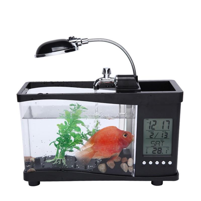 Efficient Usb Acrylic Mini Fish Tank Aquarium Led Lighting Light With Alarm Clock For Livi Aquariums & Tanks