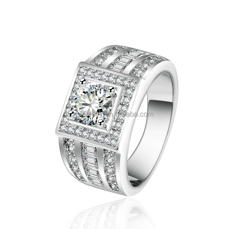 LYR0043 Discount wholesale high quality Ladder zircon saudi arabia men ring 925 sterling silver jewelry