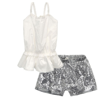 Fashion Infant Toddler White Tops+Sequin Shorts Clothing Set 2pcs Baby Girls Summer Clothes