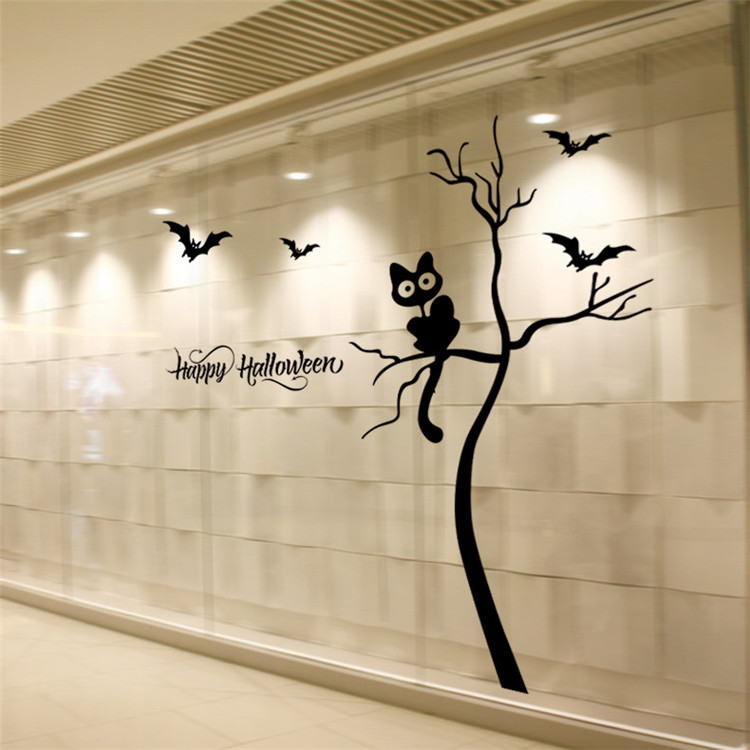 Halloween decoration cat tree bats wall window stickers for shop party home decor vinyl custom transfer film wall glass sticker