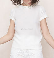 Guangzhou clothing OEM 100% Silk round neckline short sleeves casual chic Top blouse with pleated collar and strass
