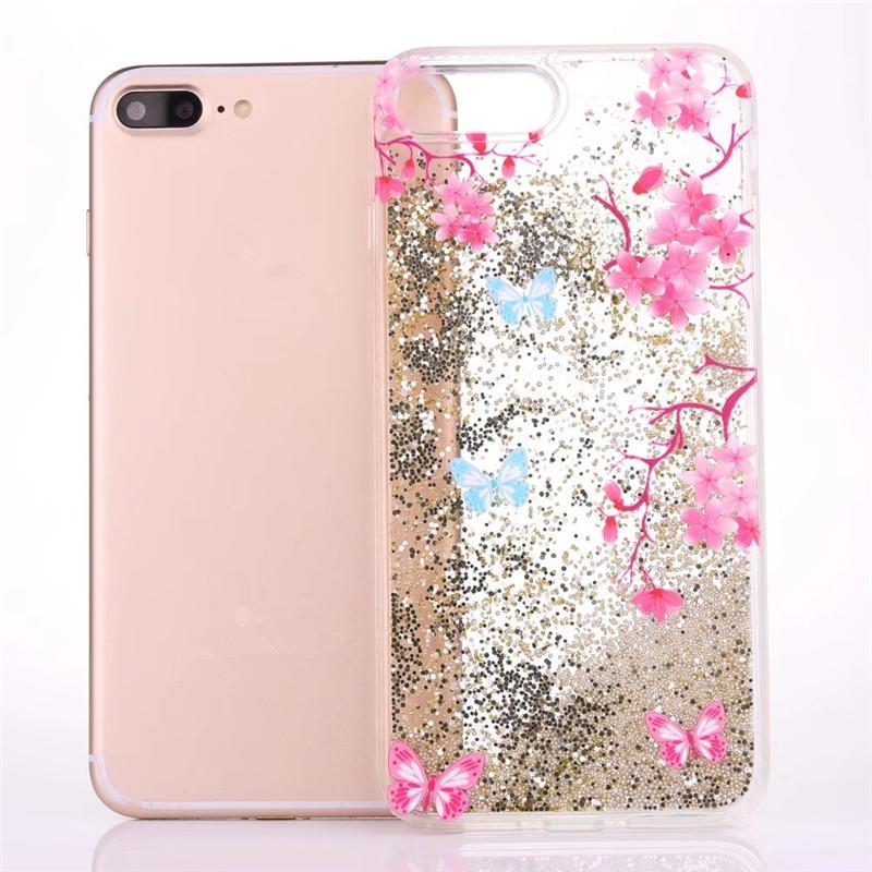 best service 5a296 79b6e Flower Butterfly Image Glitter Bead Quicksand Inside Liquid Phone ...