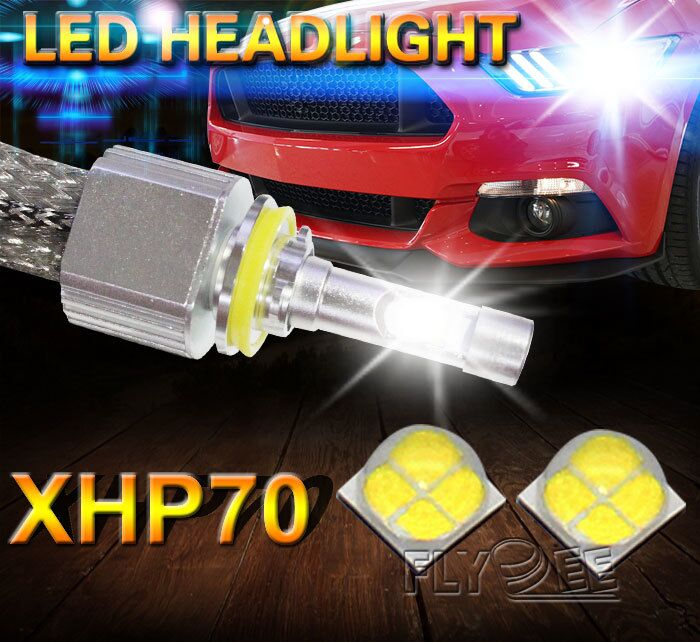 Flydee ultra brightness fanless headlamp crees l7 6600lm xhp70 led headlight H4 H7 H11