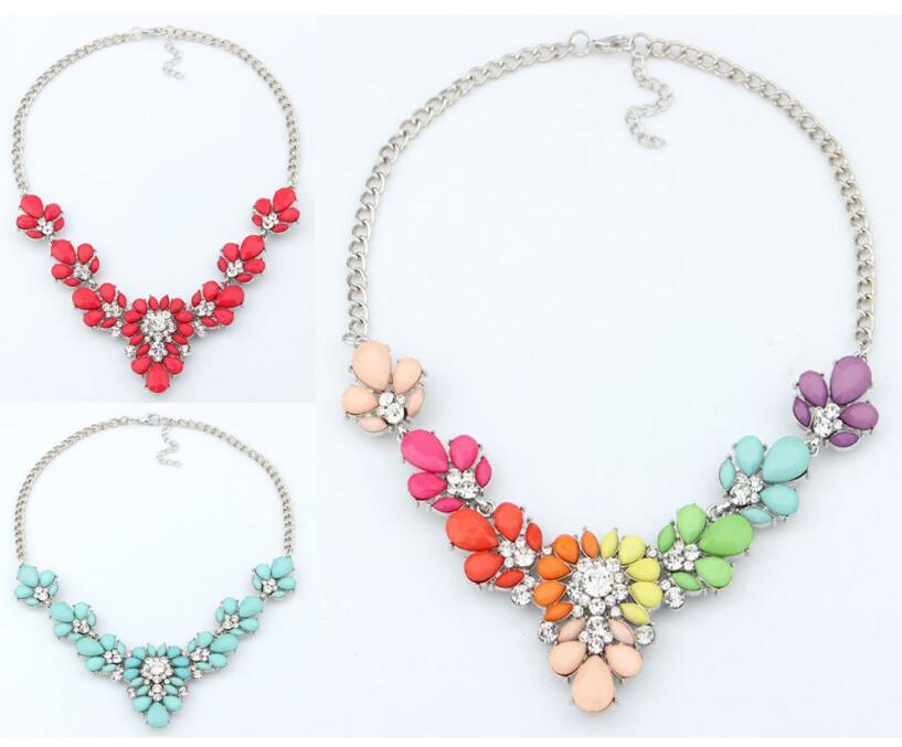 Мода богемия CZ кристалл ожерелье воротник красочный синий красный горный хрусталь цветок бусины подвеска колье ожерелье для женщин