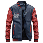 Leather Jackets Ecoach Latest Design Long Sleeve Embroidery Fleece Lining Slim Fit Pu Leather Men Baseball Jackets