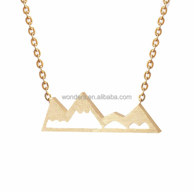 Simple Dainty Stainless Steel Fine Jewellery Fashion Gold Silver Cool Mountain Top Charm Necklace