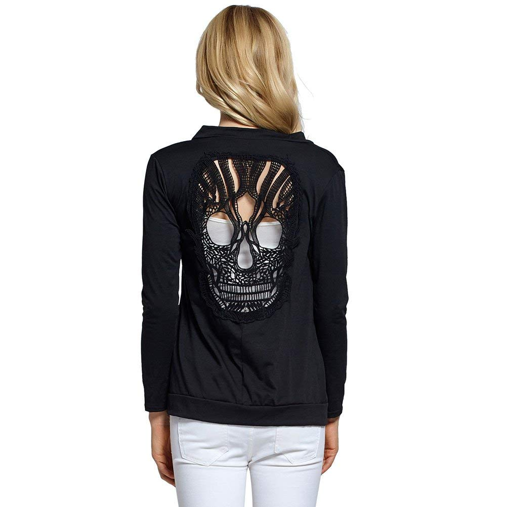 4f8965150d06c Get Quotations · ZXH Womens Open Front Back Cut Out Skull Cardigan Long  Sleeve Blouse Shirt Tops