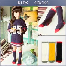 2015 Fashion Patchwork Cotton Boys Girls Socks Cute Style School Casual Kids Knee Long Sock Children