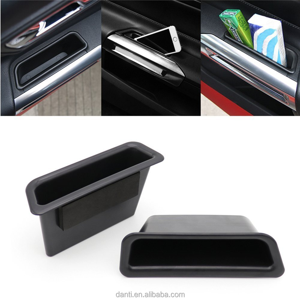 Door Side Storage Box For Ford Mustang 2015 2016 2017 Front Row Handle Armrest Phone Container