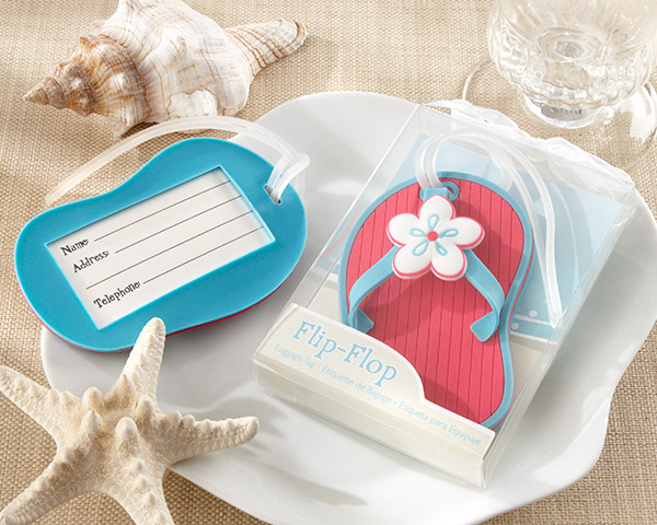 Wedding Favors Beach Themed Red Bottom Flip Flop Luggage Tag