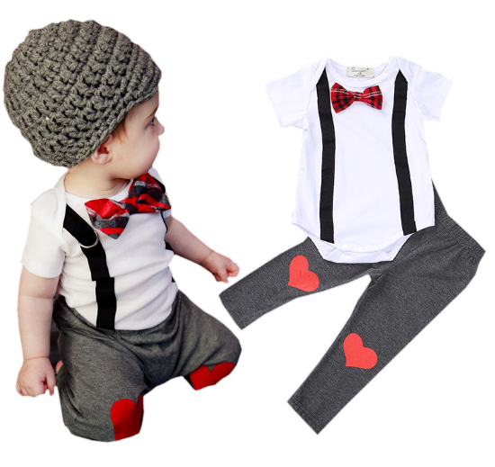 baby boys bow tie romper tee and heart shape pants 2 pcs set