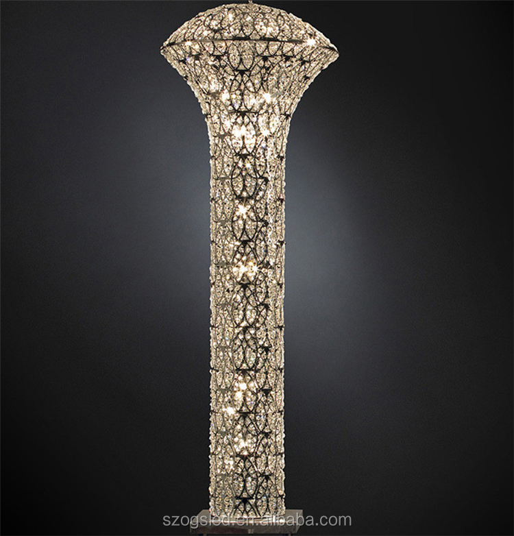 Pillar shaped silver chrome color crystal floor lamp for shopping mall Dubai