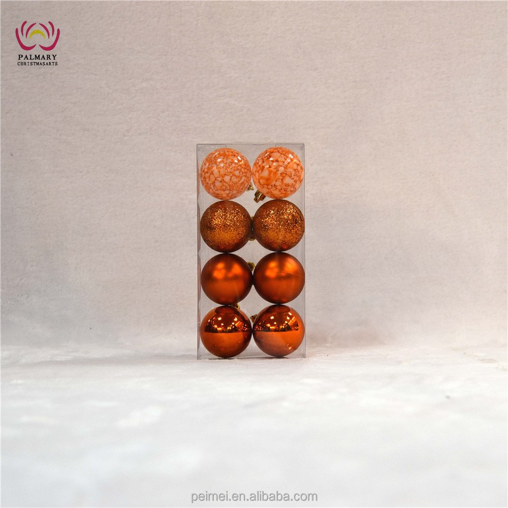 Christmas ornaments 6cm orange baubles shiny matt glitter marbled balls 8 pcs/PVC box factory supply customized available