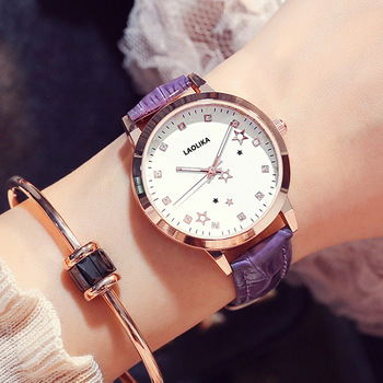 New Genuine Lady Quartz Leather Watch Korean Edition Simple Leisure Atmospheric Waterproof Watches for Female Students