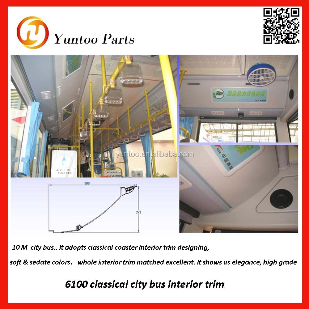 6128 Luxury Bus Interior Trim With Abnormal Middle Roof