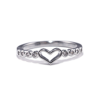 Small Fresh Love Ring Simple 925 Silver Plated Jewelry Heart-shaped Ring Designs for Girls
