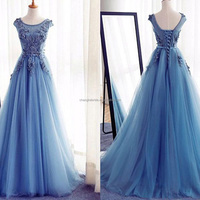 High Quality Cheap Evening Dresses Applique Lace Sheer Tulle Gorgeous Evening Dress