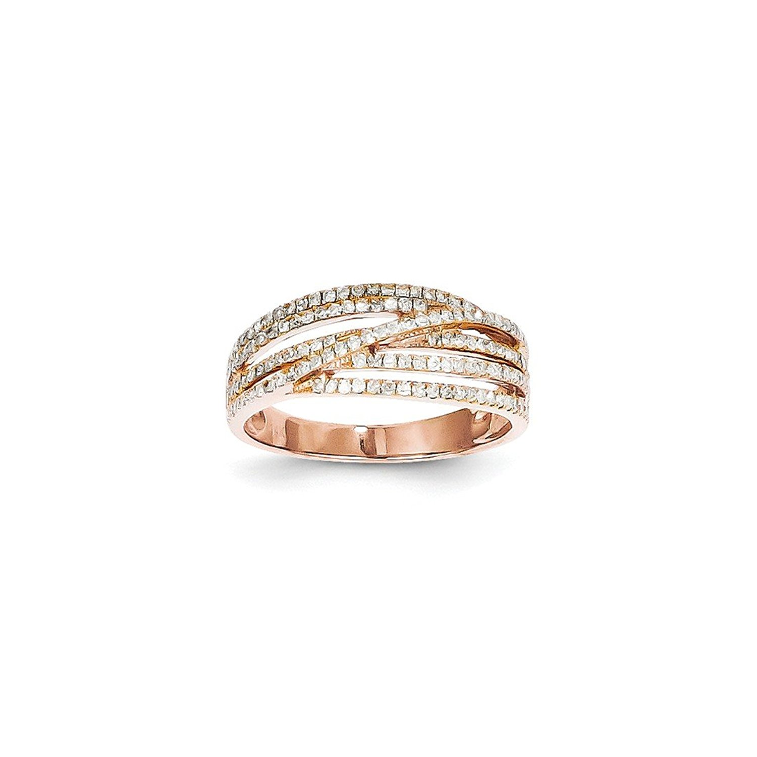 ICE CARATS 14kt Rose Gold Diamond Band Ring Stone Fine Jewelry Ideal Gifts For Women Gift Set From Heart