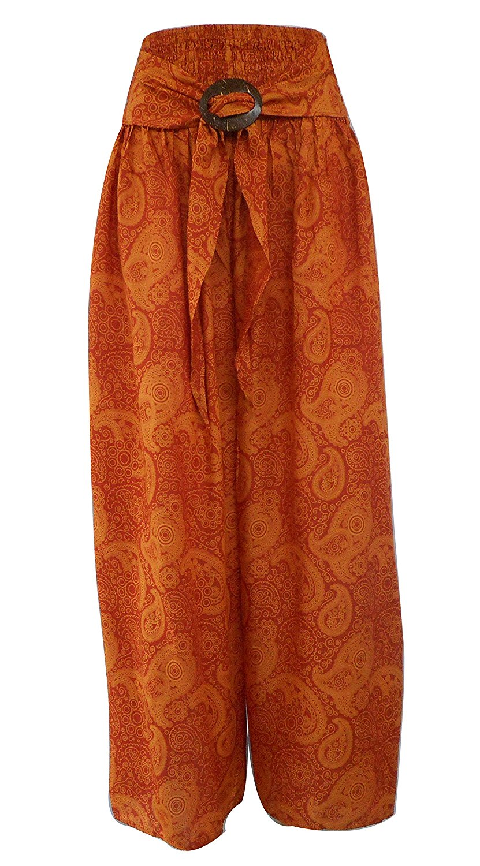 a3888a5c20b3 Get Quotations · Bonya Women s Bohemian Tribal Print Elastic Waist Pants  Cropped Pants (Dark Blue)