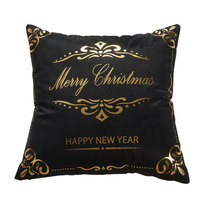 Gold Flannel Bronzing Christmas Pillow Case Throw Cushion Cover White and Black Soft Material 18 x 18 Inch