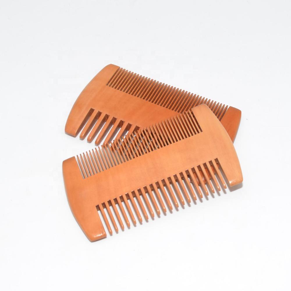 ECO Custom logo Pear wood pocket hair beard comb for brush set, Nature wood color