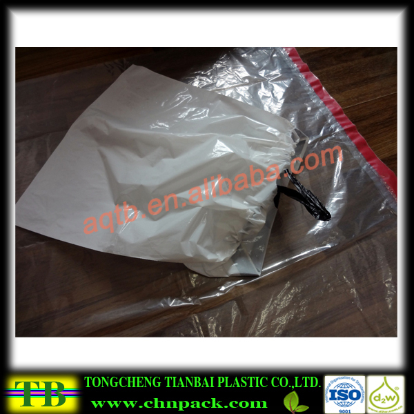 Empty plastic drawstring packing bags with neutral printing