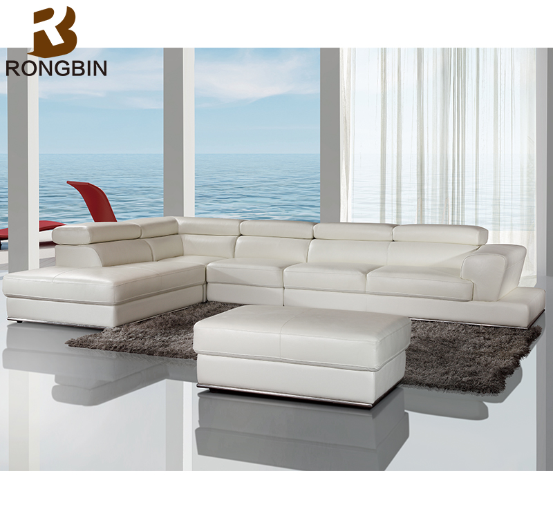China factory furniture living room couch sectional corner leather sofa sale