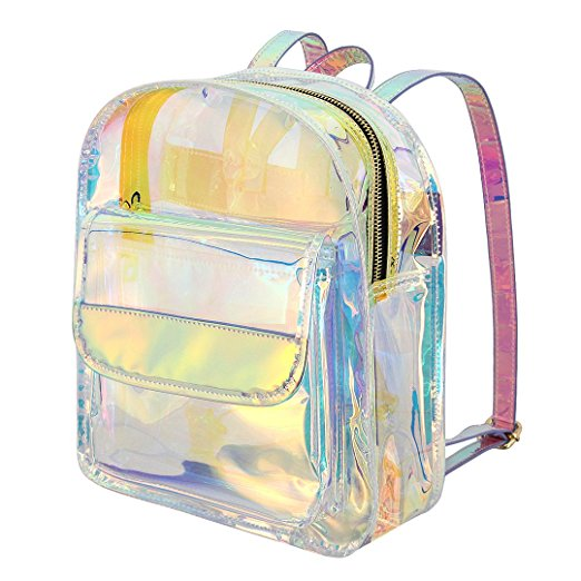 Hot sale stylish waterproof clear holographic pvc bag transparent backpack