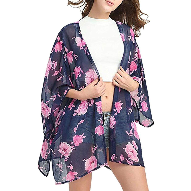 9a2fb720e99ec Hattfart Womens Beach Kimono Cover Ups Floral Chiffon Cardigan Sheer Blouse  Loose Tops