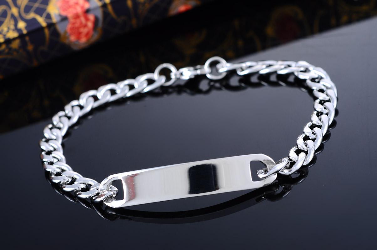 1 пк нержавеющая сталь серебро тон кубинский снаряженная цепь ID браслет 20 см для женщины за $ 125 экспресс