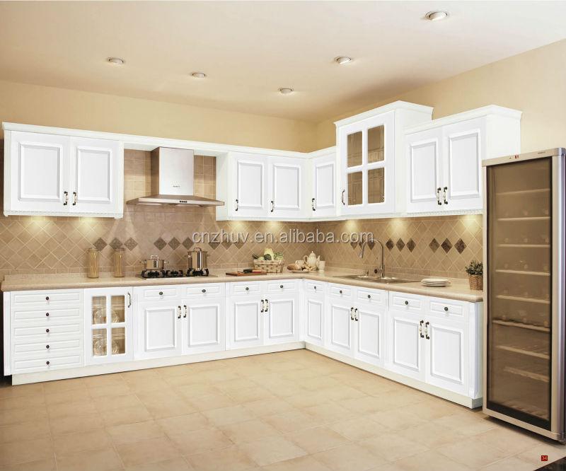 Blanco brillo PVC gabinete de cocina MDF diseño puertas con cubo de ...