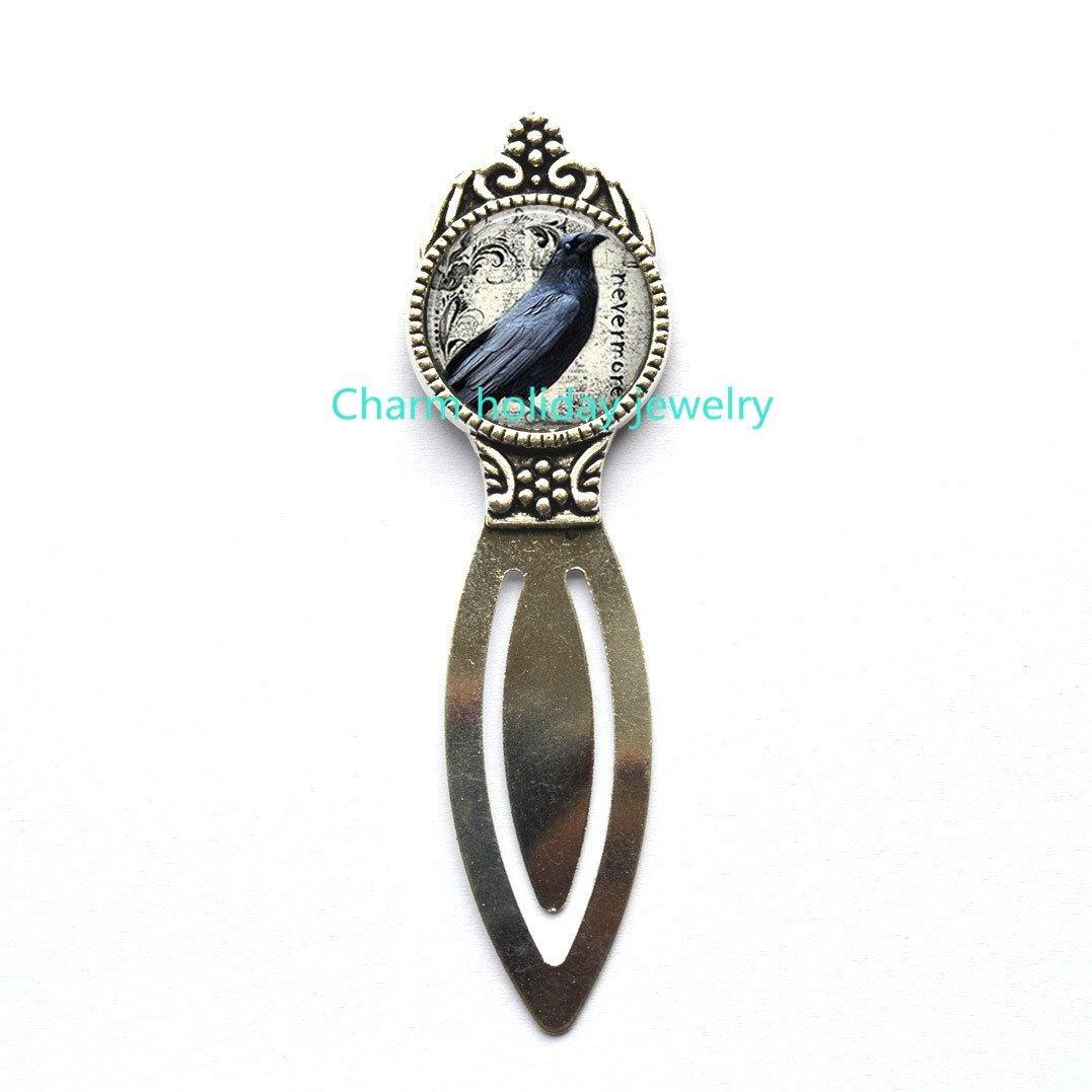 Raven Bookmarker, raven Bookmarker, Halloween jewelry, raven jewelry,bird jewelry, bird Bookmark,raven jewelry.D0090