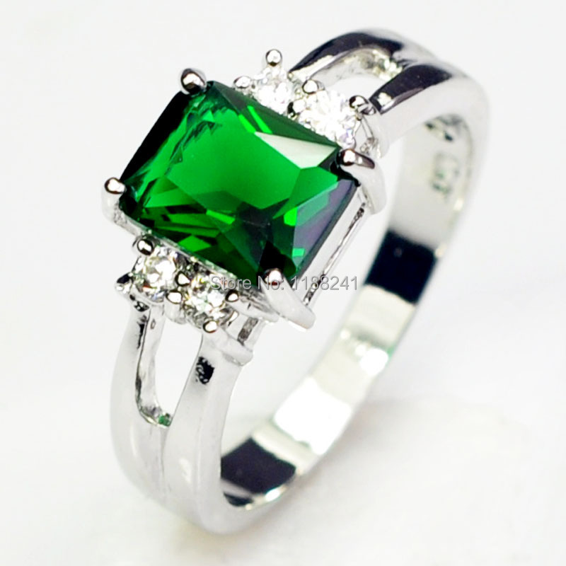 10pcs/lot Wholesale White Gold Filled Emerald Green Sapphire 10KT Finger Ring Fashion Jewelry For Women Size 6/7/8/9 HOT Sale