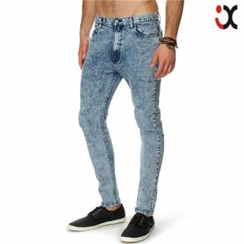 2015 stretch denim skinny fit light acid washed embroidered back pocket  jeans men flexible JXQ936