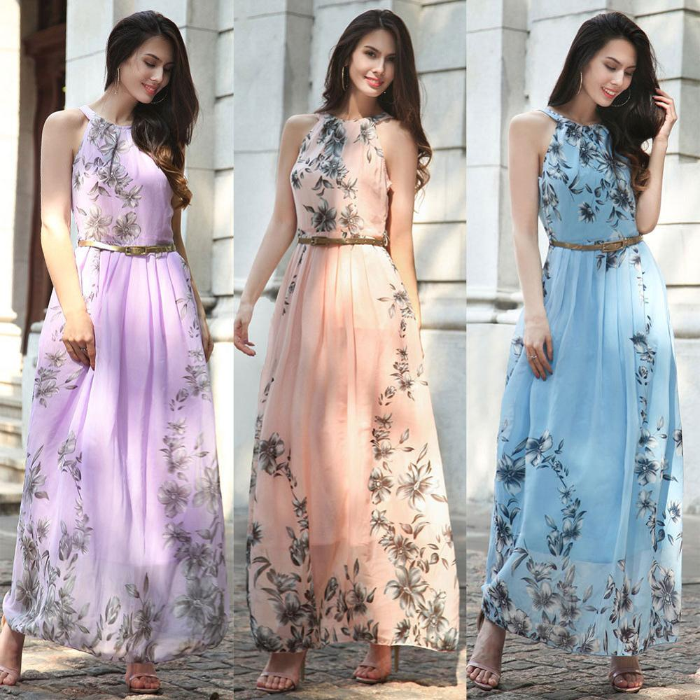 2017 New Spring Summer casual Women Bohemian beach print chiffon dress sleeveless loose plus size 3XL sashes Maxi dress sundress