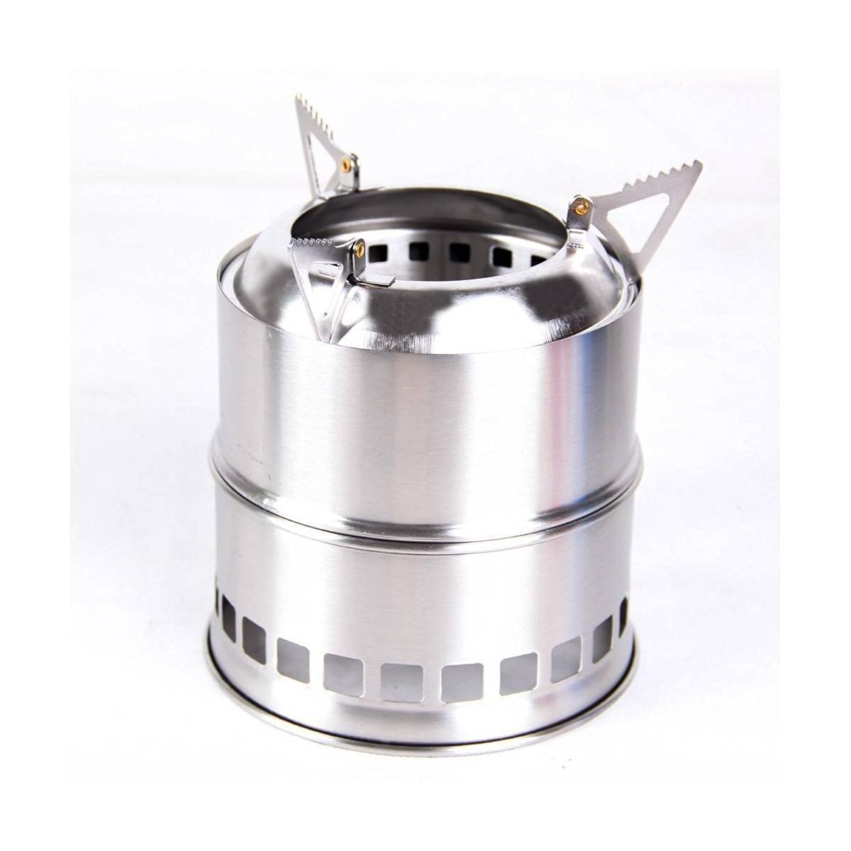 KINGSO Potable Stainless Steel Outdoor Camping Backpacking Hiking Wood Twigs Burning Stove