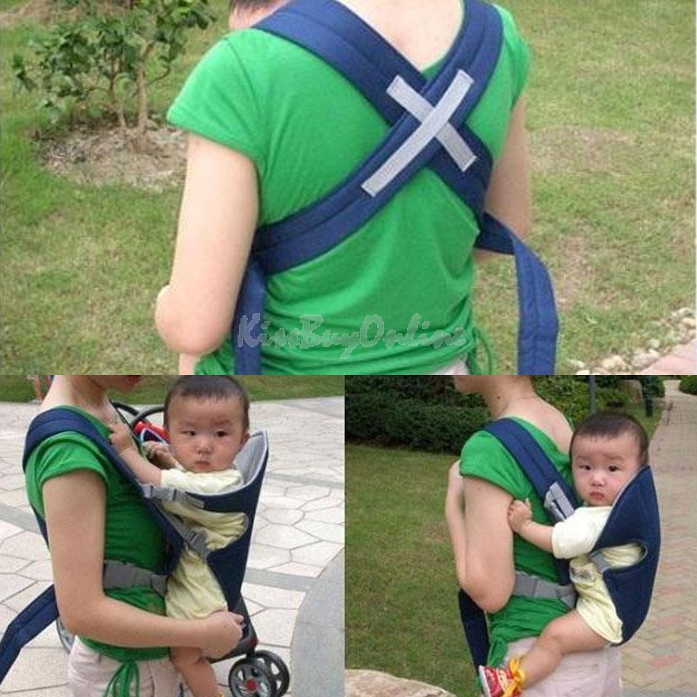Trendy Breathable 3D Mesh Baby Wrap Carrier Baby Sling for Infant Baby Blue LD789
