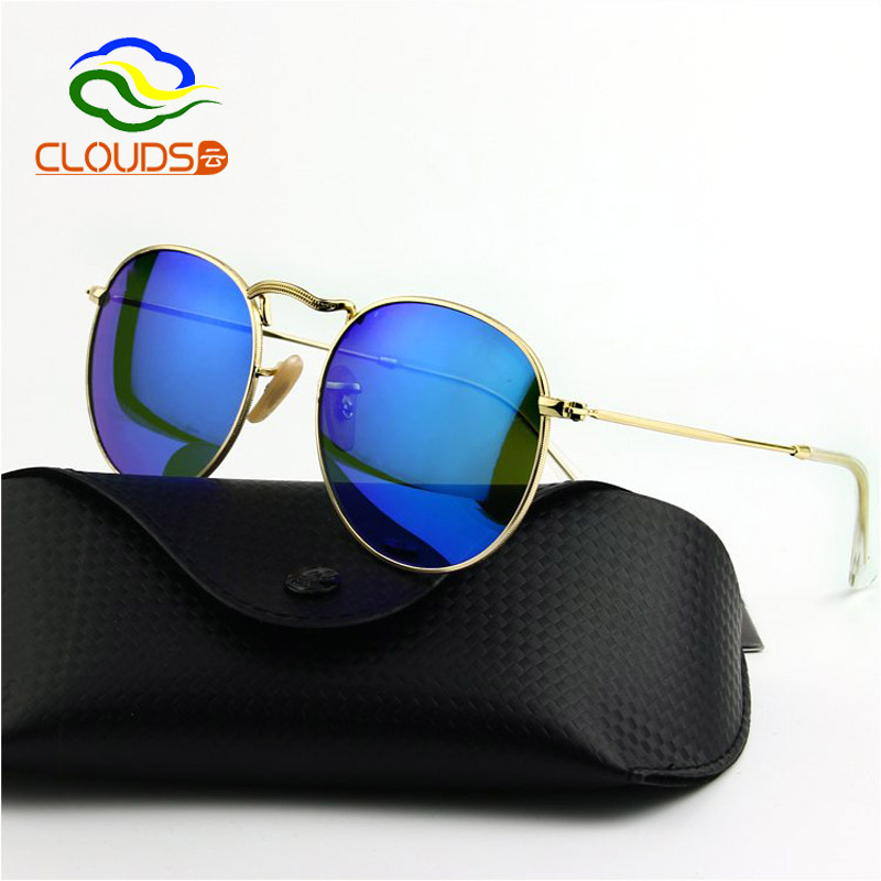 875c505b7d Get Quotations · High Quality Fashion Vintage Round Sunglasses Women Brand  Designer Luxury 2015 Men Color Mirror Sunglasses Glass