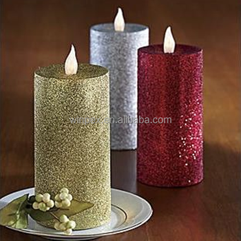 led christmas decorative candles glitter wax pillar candles - Led Christmas Candles