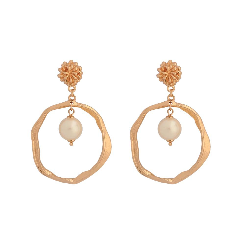 2019 New Arrival 18K Gold Plated Statement Geometric Round Circle Simulated Pearl Earrings фото