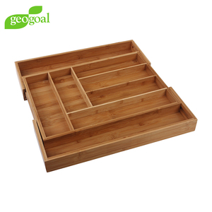 Eco-friendly Bamboo Drawer Organizer Expandable Drawer Divider Cutlery Tray