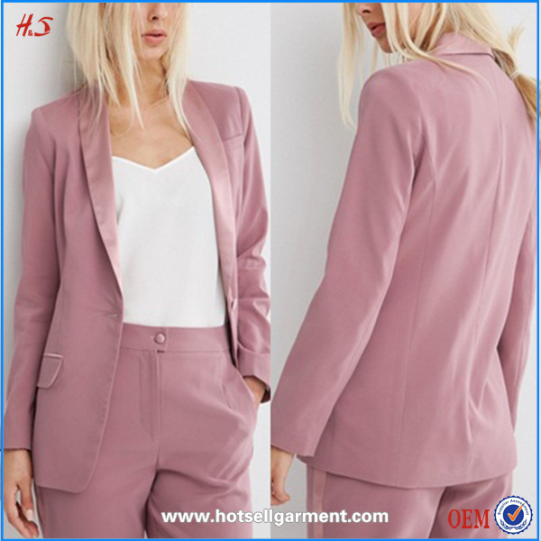 Latest fashion cool ladies pink jacket women office formal jackets front office uniforms
