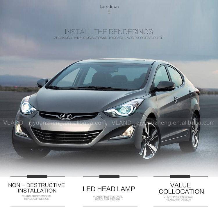 For Vland Car Accessories Elantra 2012-UP LED Head Light Front Lamp