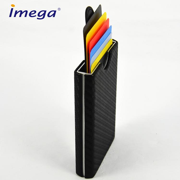 Benutzerdefinierte Leder Metall Acryl Stand Abzeichen Herren Push Button Kredit Brieftasche Rfid Blockieren Kunststoff Visitenkartenhalter Buy